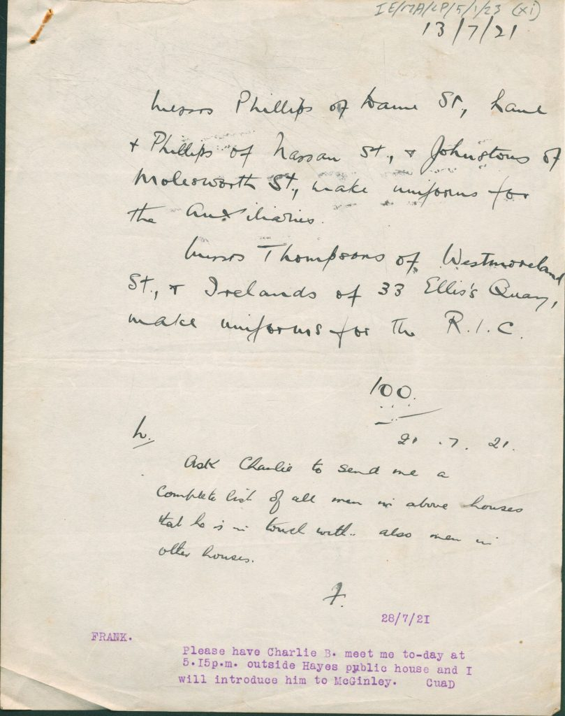 CP-05-01-23   Communications between agent '100', F [Frank Thornton] and L [Liam Tobin], 13th July 1921
